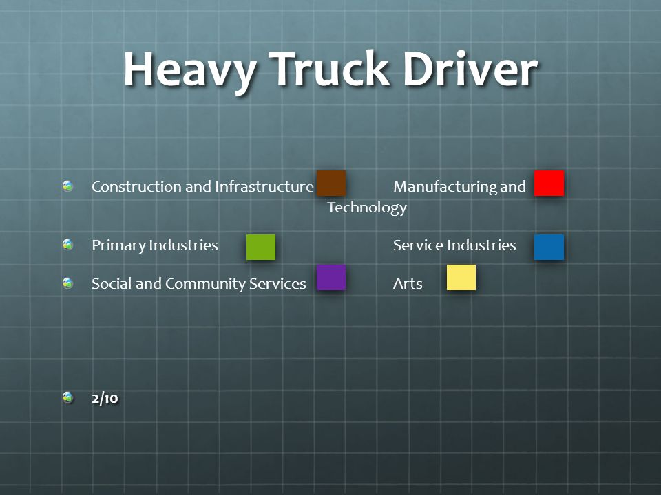 Heavy Truck Driver Construction and Infrastructure Manufacturing and Technology Primary Industries Service Industries Social and Community ServicesArts2/10