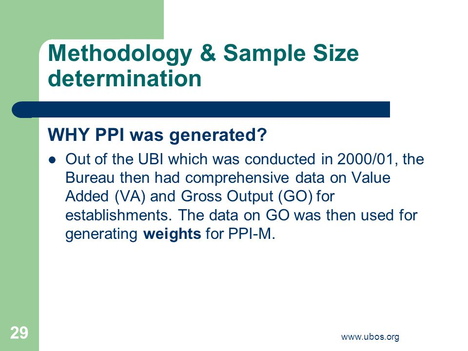 www.ubos.org 29 Methodology & Sample Size determination WHY PPI was generated.