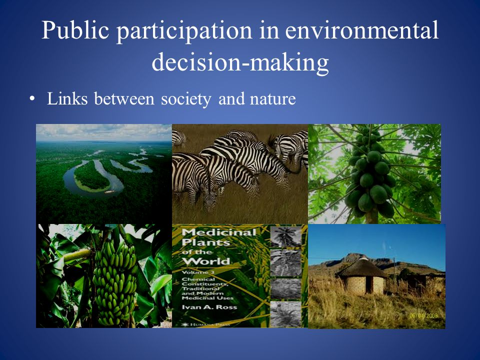 Public participation in environmental decision-making Links between society and nature