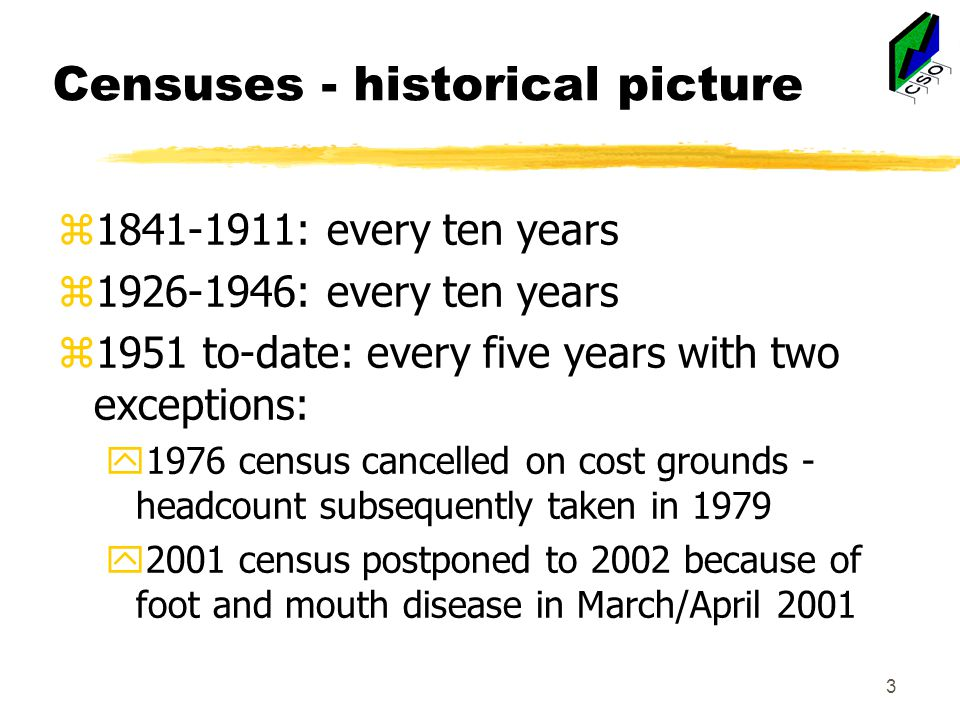 3 Censuses - historical picture z1841-1911: every ten years z1926-1946: every ten years z1951 to-date: every five years with two exceptions: y1976 census cancelled on cost grounds - headcount subsequently taken in 1979 y2001 census postponed to 2002 because of foot and mouth disease in March/April 2001