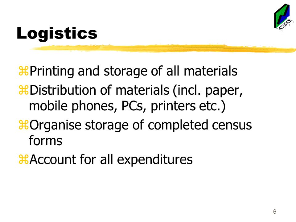 Logistics zPrinting and storage of all materials zDistribution of materials (incl.