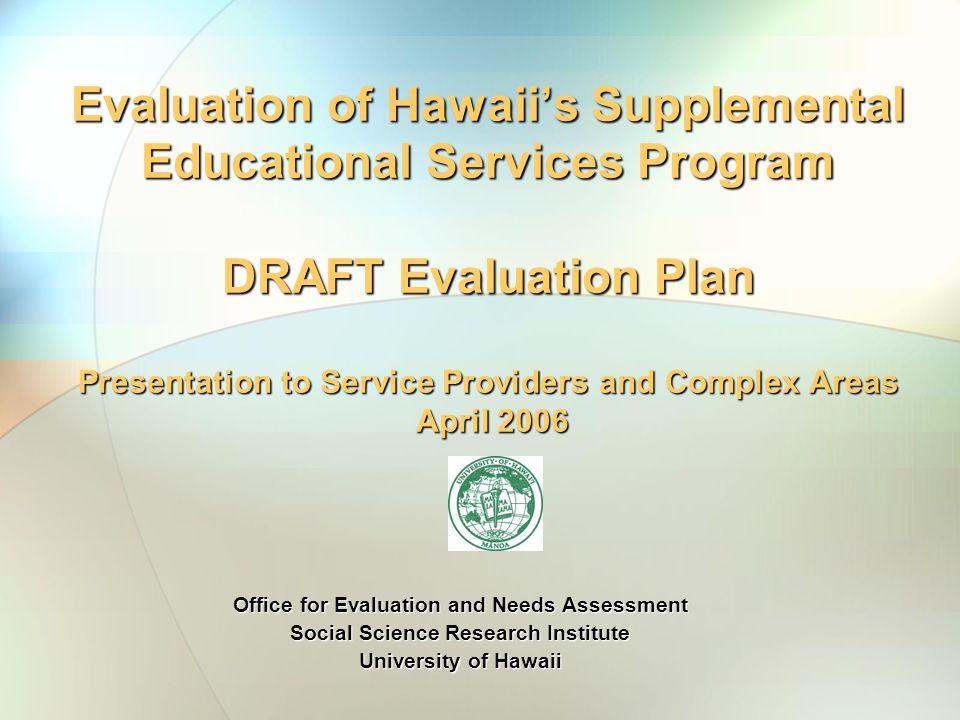 Evaluation Team Dr.Judith Inazu, P.I., Associate Director, Social Science Research InstituteDr.