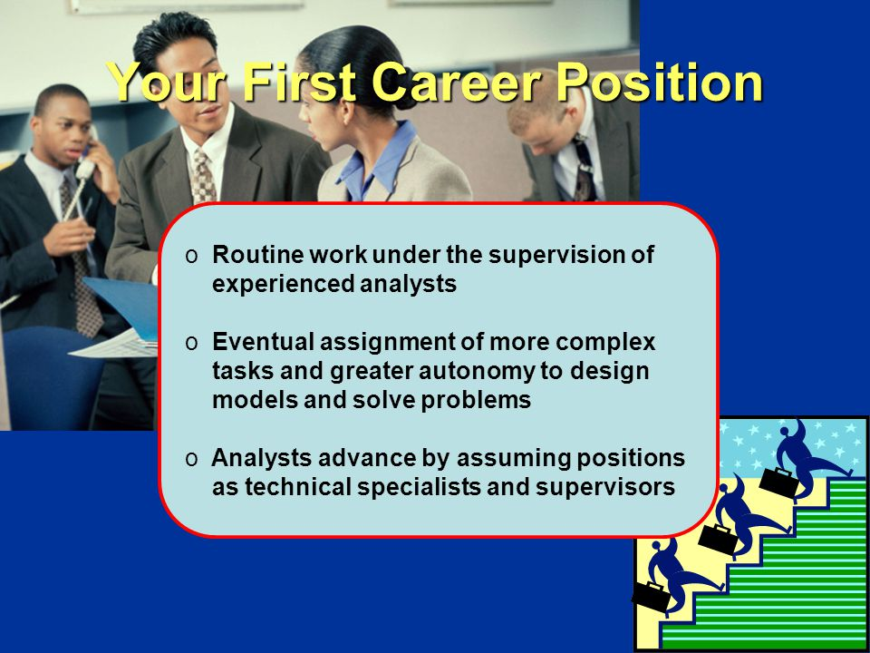 Your First Career Position o Routine work under the supervision of experienced analysts o Eventual assignment of more complex tasks and greater autonomy to design models and solve problems o Analysts advance by assuming positions as technical specialists and supervisors
