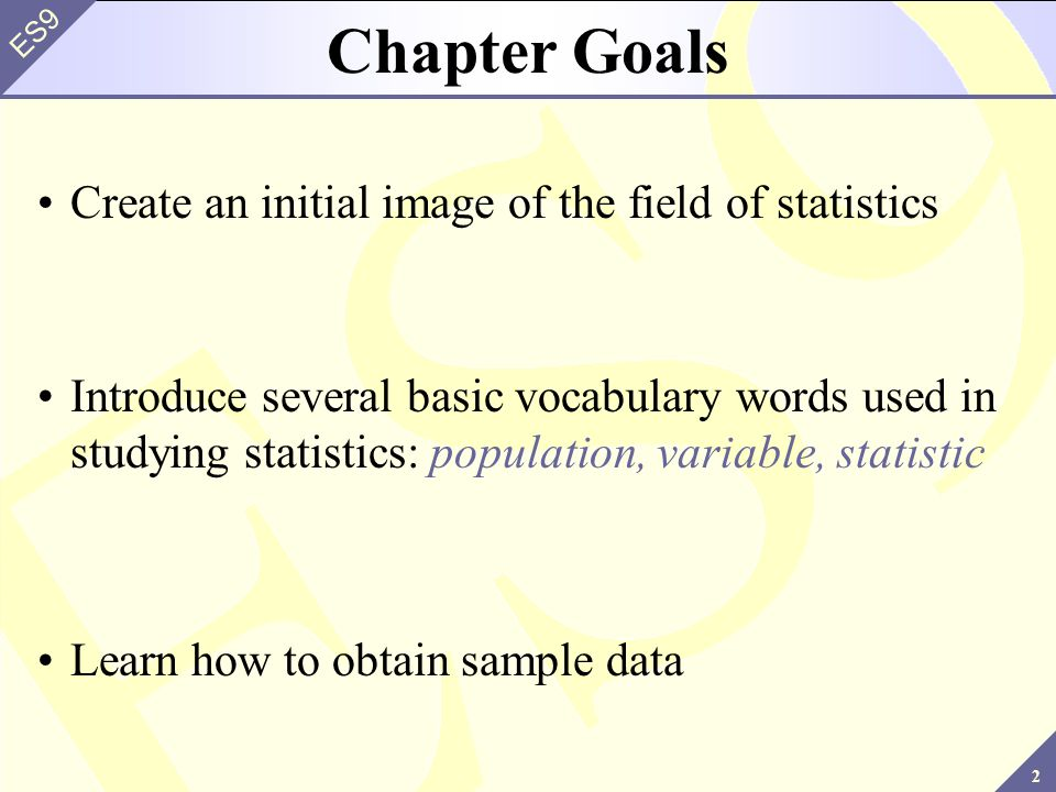 23 ES9 Methods Used to Collect Data Random Samples: A sample selected in such a way that every element in the population has a equal probability of being chosen.