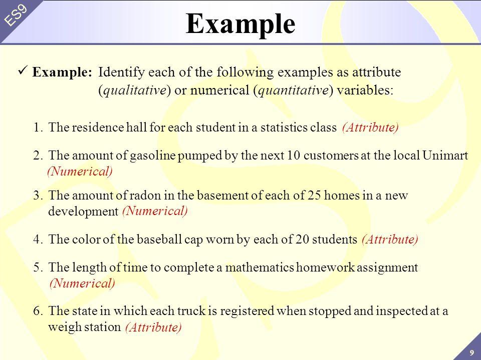 10 ES9 Subdividing Variables Further Qualitative and quantitative variables may be further subdivided: Variable Qualitative Quantitative Nominal Ordinal Discrete Continuous