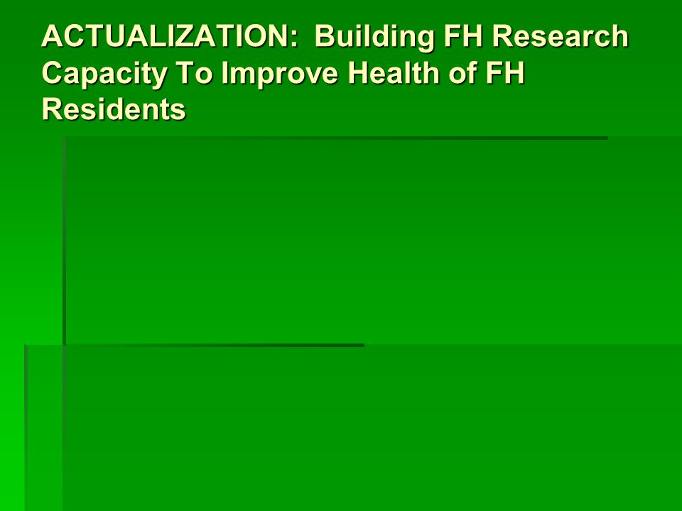 ACTUALIZATION: Building FH Research Capacity To Improve Health of FH Residents
