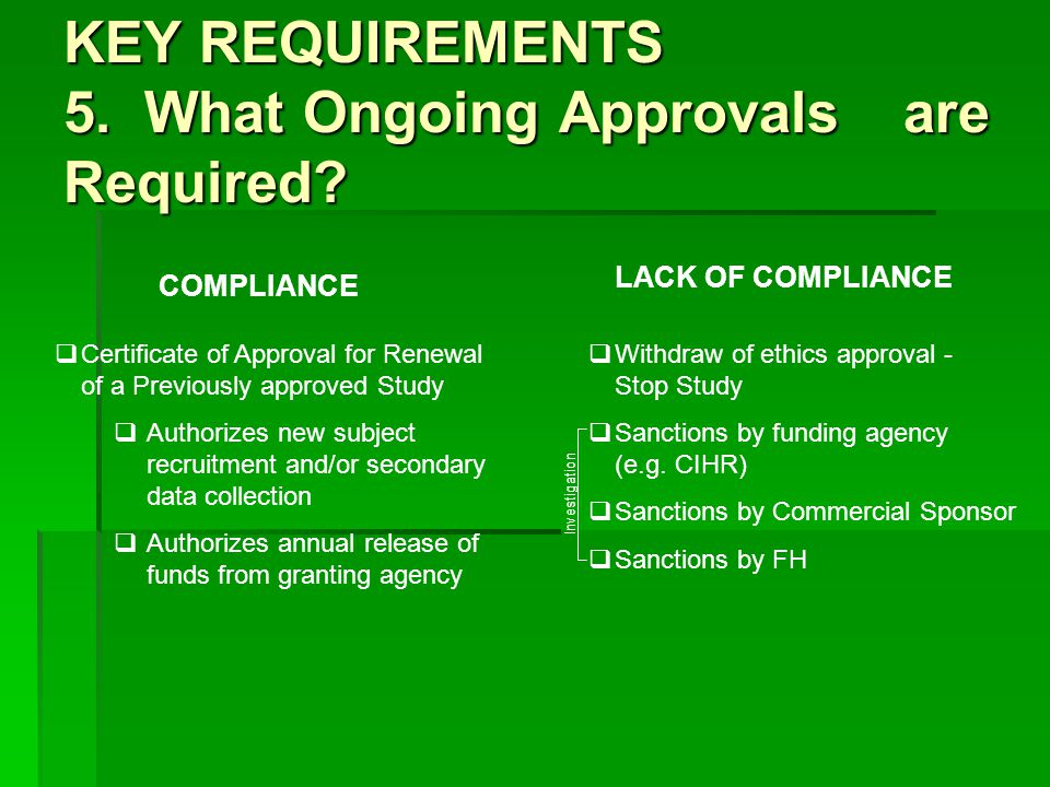 KEY REQUIREMENTS 5. What Ongoing Approvals are Required.