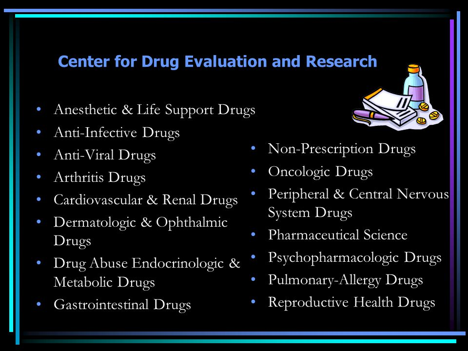 Center for Drug Evaluation and Research Anesthetic & Life Support Drugs Anti-Infective Drugs Anti-Viral Drugs Arthritis Drugs Cardiovascular & Renal Drugs Dermatologic & Ophthalmic Drugs Drug Abuse Endocrinologic & Metabolic Drugs Gastrointestinal Drugs Non-Prescription Drugs Oncologic Drugs Peripheral & Central Nervous System Drugs Pharmaceutical Science Psychopharmacologic Drugs Pulmonary-Allergy Drugs Reproductive Health Drugs