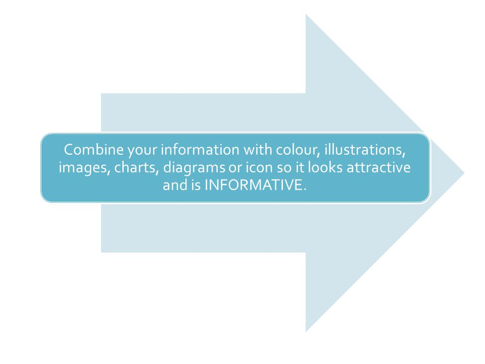 Combine your information with colour, illustrations, images, charts, diagrams or icon so it looks attractive and is INFORMATIVE.