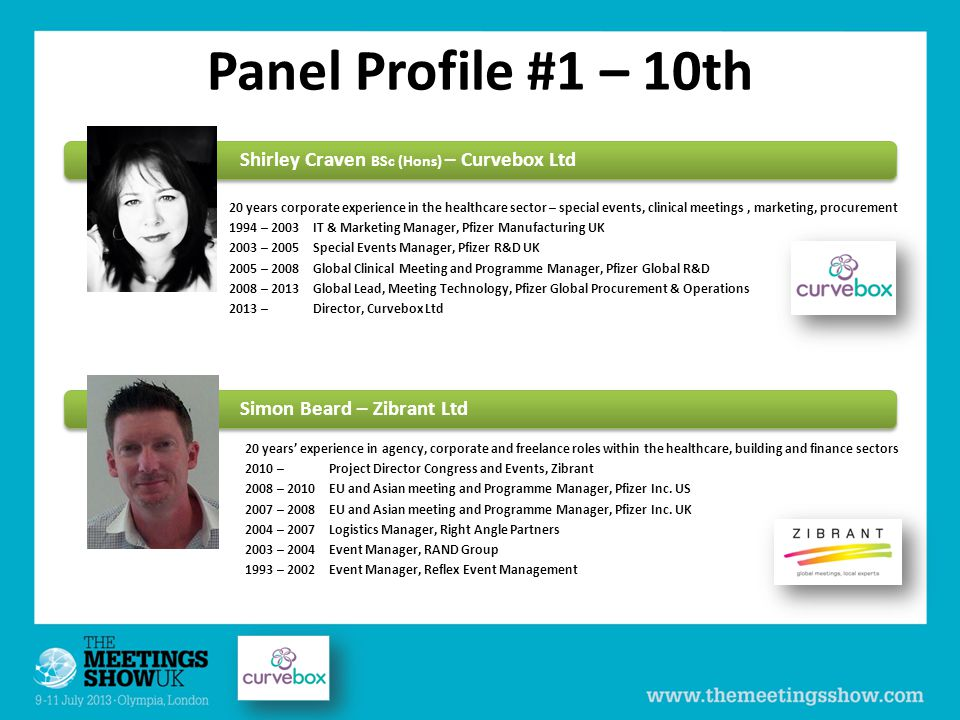 Panel Profile #1 – 10th Shirley Craven BSc (Hons) – Curvebox Ltd 20 years' experience in agency, corporate and freelance roles within the healthcare, building and finance sectors 2010 – Project Director Congress and Events, Zibrant 2008 – 2010EU and Asian meeting and Programme Manager, Pfizer Inc.