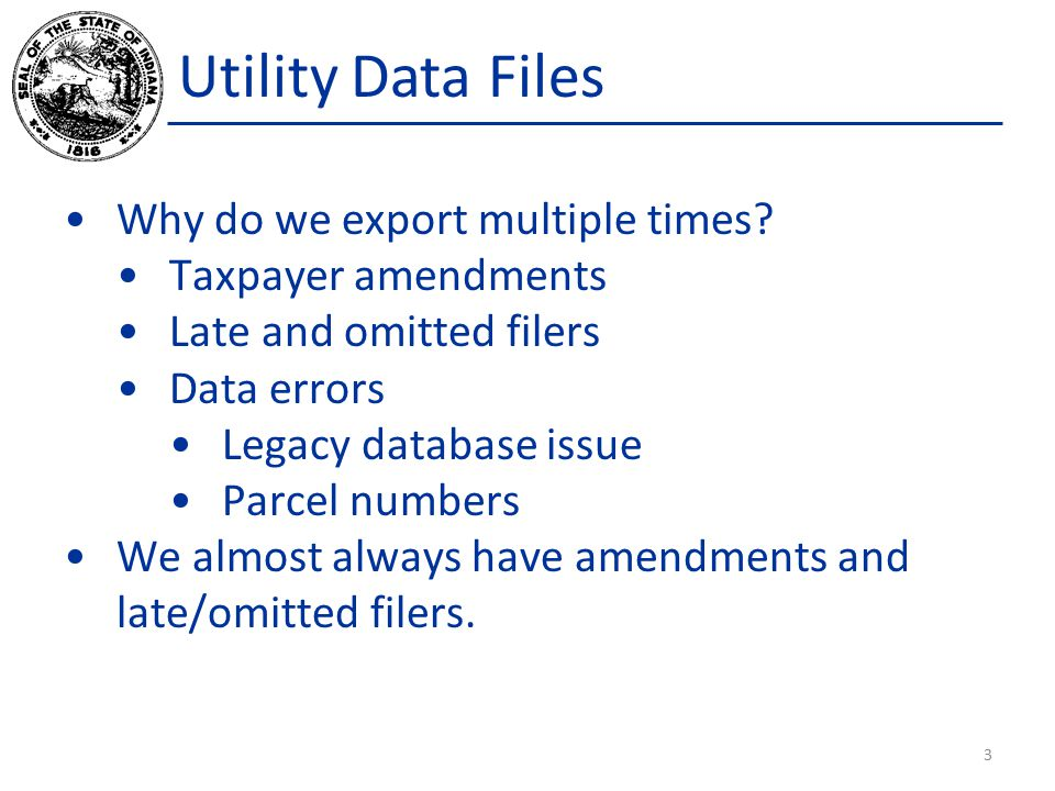 Utility Data Files Why do we export multiple times? Taxpayer amendments Late and omitted filers Data errors Legacy database issue Parcel numbers We al