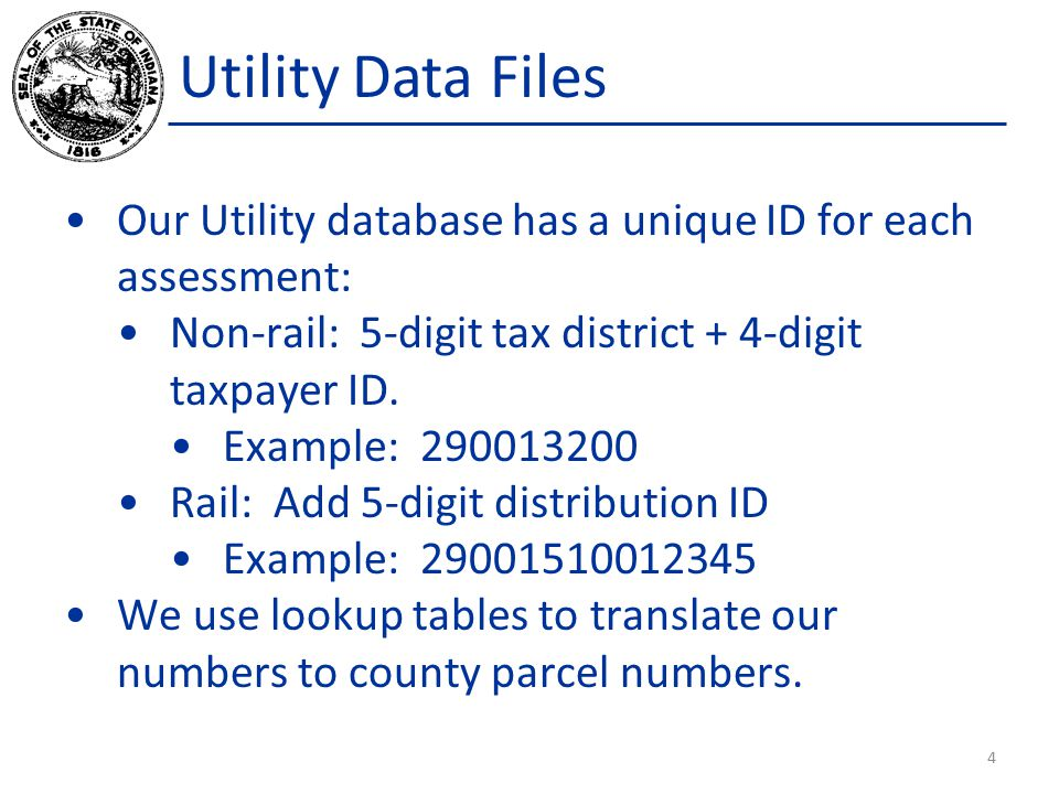 Utility Data Files Our Utility database has a unique ID for each assessment: Non-rail: 5-digit tax district + 4-digit taxpayer ID.
