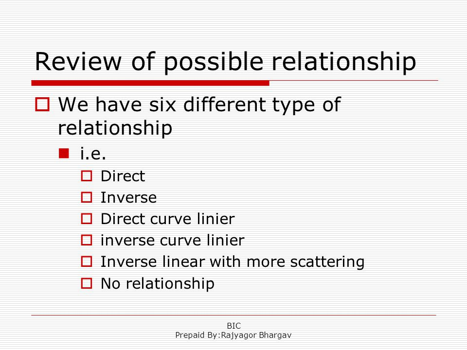 Review of possible relationship  We have six different type of relationship i.e.