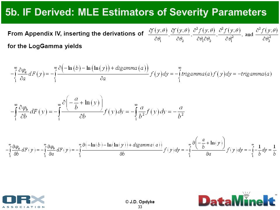 © J.D. Opdyke 33 From Appendix IV, inserting the derivations of for the LogGamma yields 5b. IF Derived: MLE Estimators of Severity Parameters