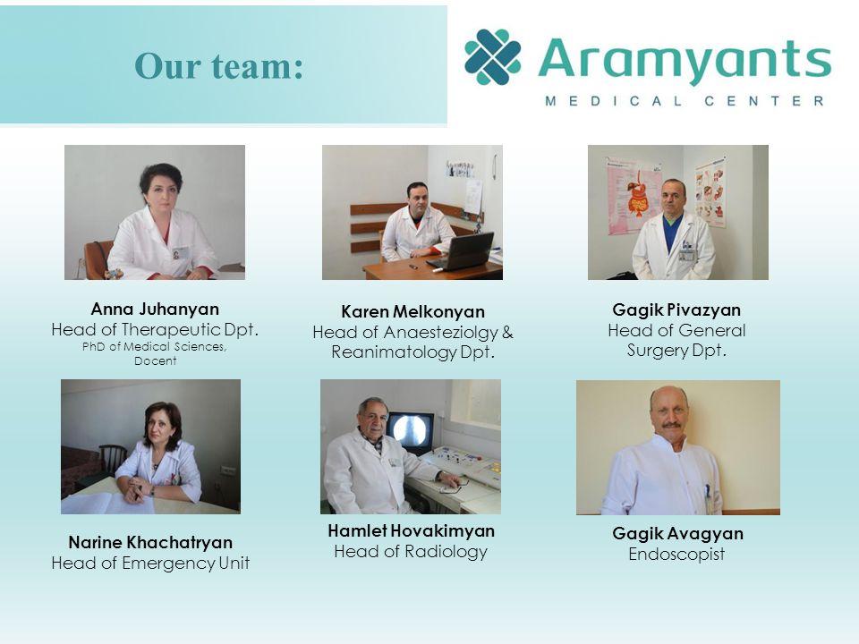Our team: Hamlet Hovakimyan Head of Radiology Gagik Pivazyan Head of General Surgery Dpt.