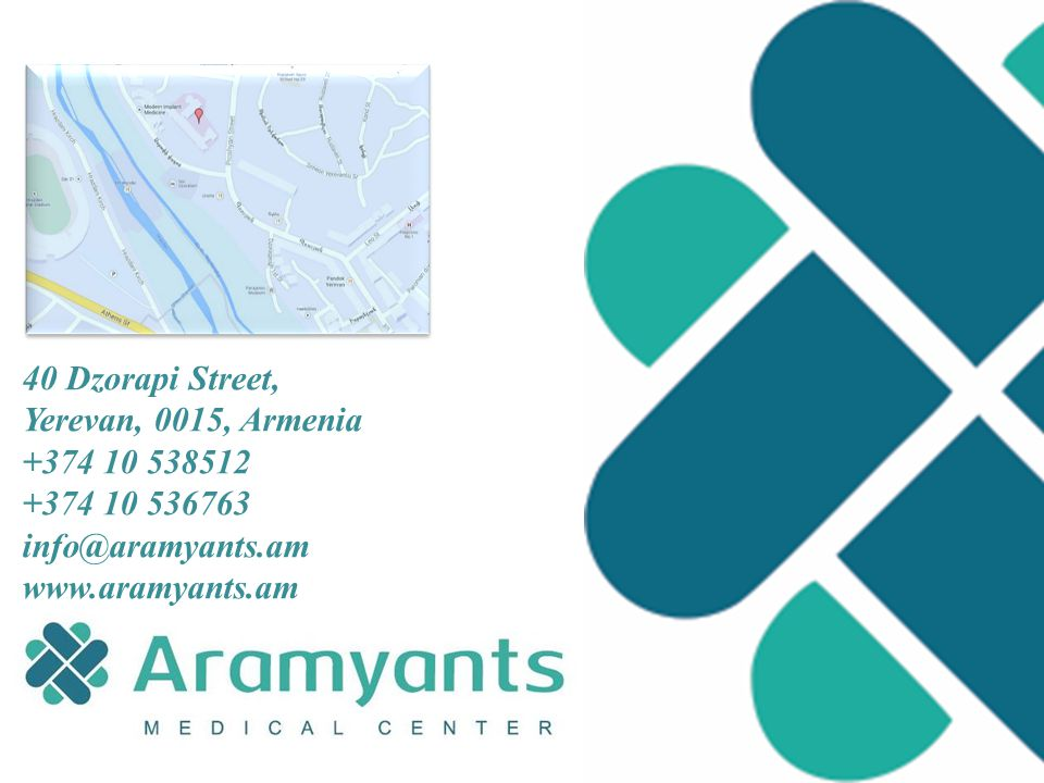 40 Dzorapi Street, Yerevan, 0015, Armenia +374 10 538512 +374 10 536763 info@aramyants.am www.aramyants.am