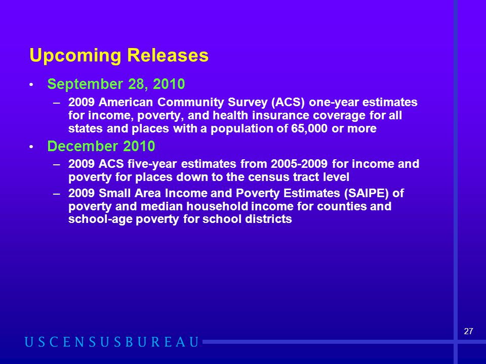 Upcoming Releases September 28, 2010 –2009 American Community Survey (ACS) one-year estimates for income, poverty, and health insurance coverage for all states and places with a population of 65,000 or more December 2010 –2009 ACS five-year estimates from 2005-2009 for income and poverty for places down to the census tract level –2009 Small Area Income and Poverty Estimates (SAIPE) of poverty and median household income for counties and school-age poverty for school districts 27