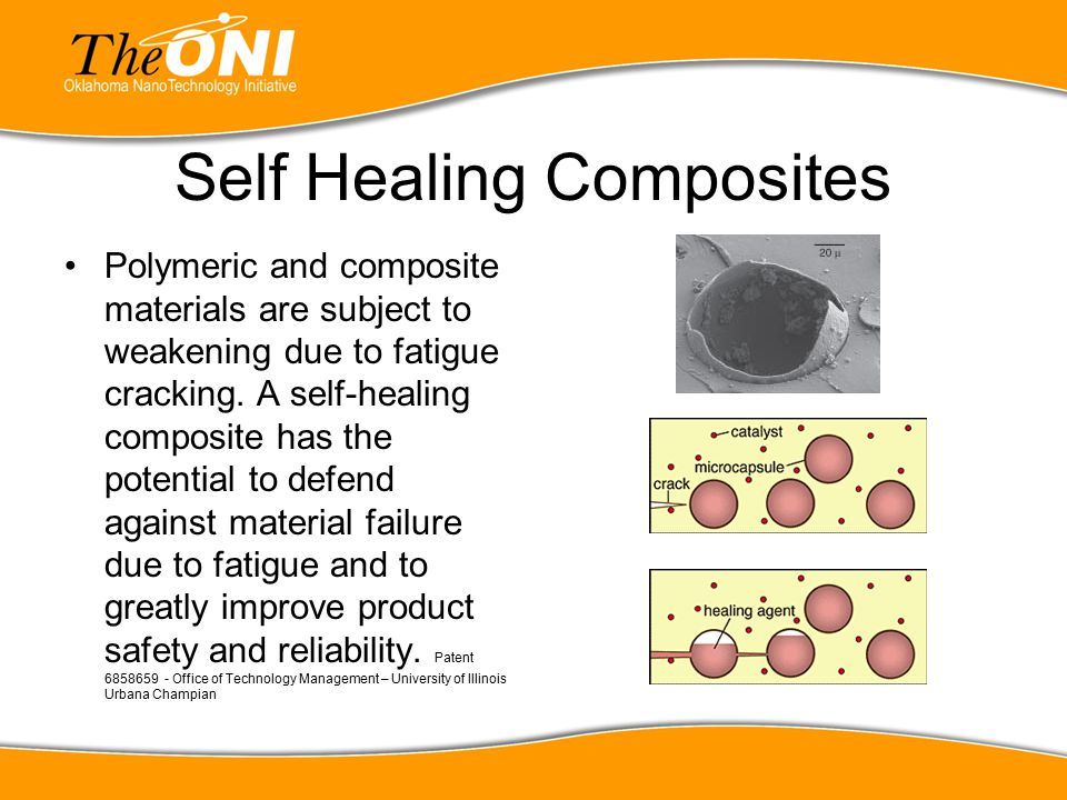 Self Healing Composites Polymeric and composite materials are subject to weakening due to fatigue cracking. A self-healing composite has the potential