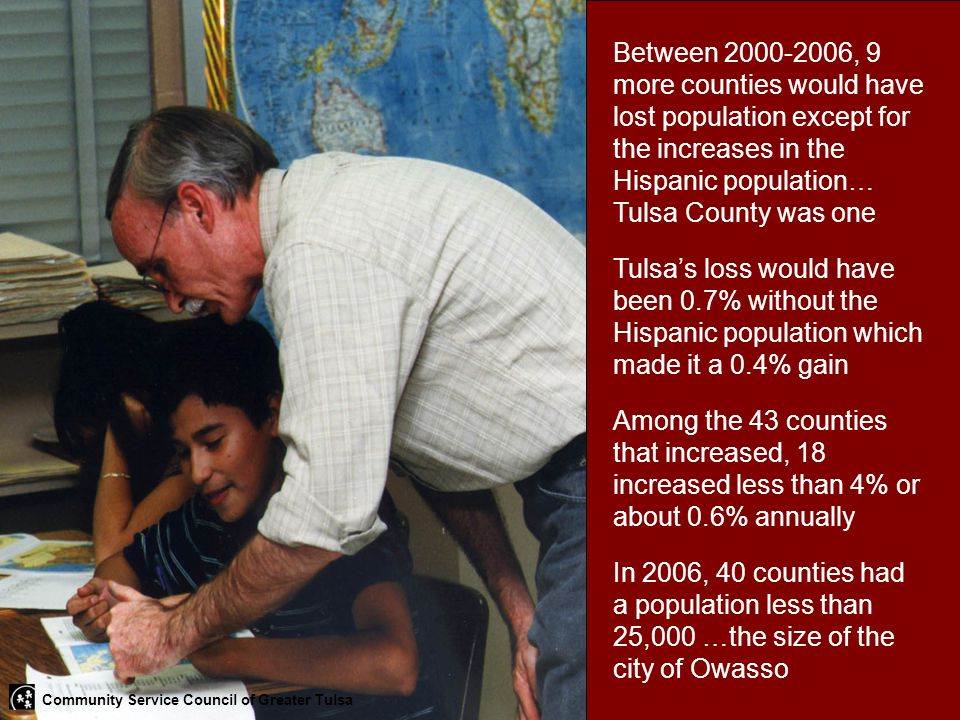 Between 2000-2006, 9 more counties would have lost population except for the increases in the Hispanic population… Tulsa County was one Tulsa's loss w
