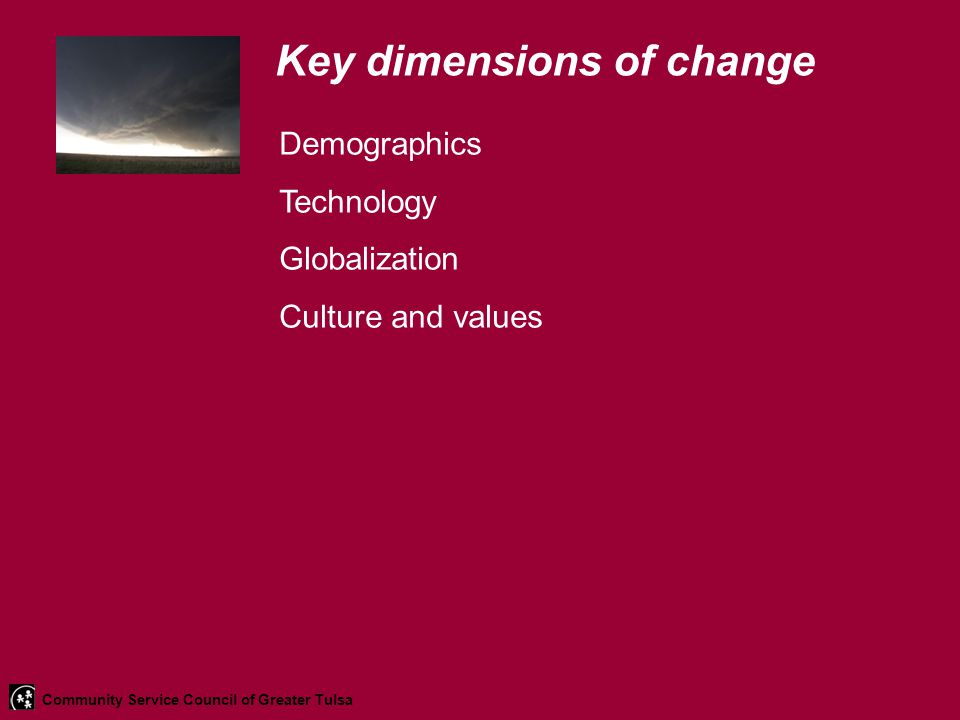 Key dimensions of change Demographics Technology Globalization Culture and values Community Service Council of Greater Tulsa