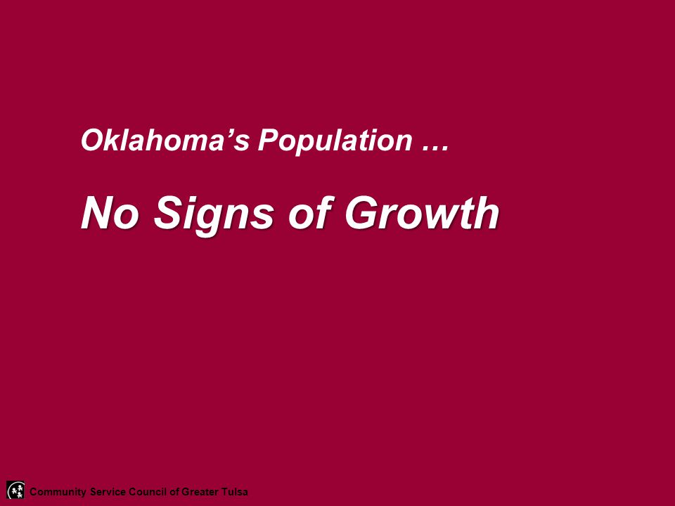 Oklahoma's Population … No Signs of Growth Community Service Council of Greater Tulsa