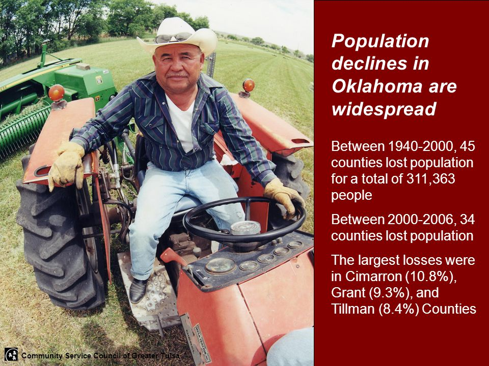 Population declines in Oklahoma are widespread Between 1940-2000, 45 counties lost population for a total of 311,363 people Between 2000-2006, 34 coun