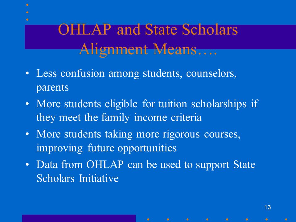 13 OHLAP and State Scholars Alignment Means….