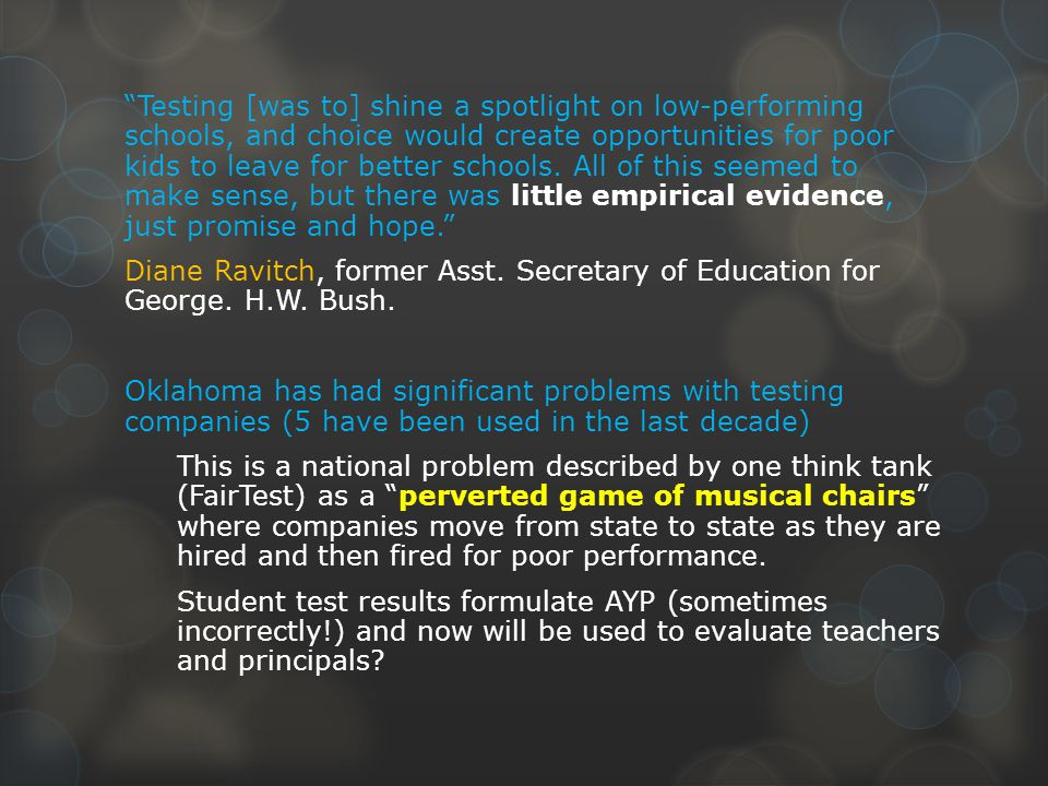 Testing [was to] shine a spotlight on low-performing schools, and choice would create opportunities for poor kids to leave for better schools.