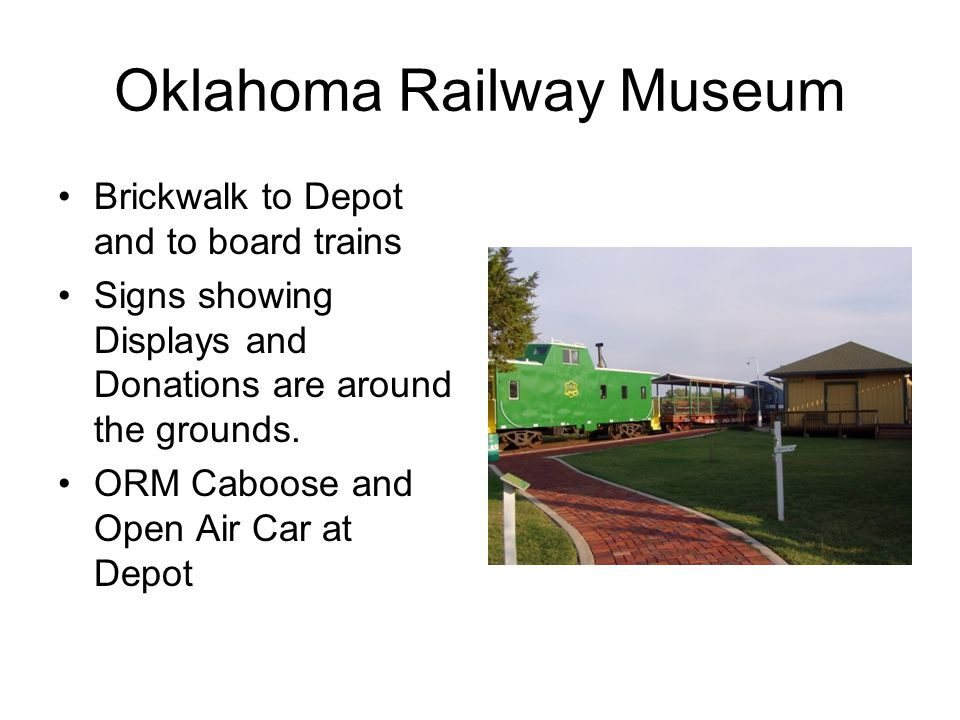Oklahoma Railway Museum Brickwalk to Depot and to board trains Signs showing Displays and Donations are around the grounds.