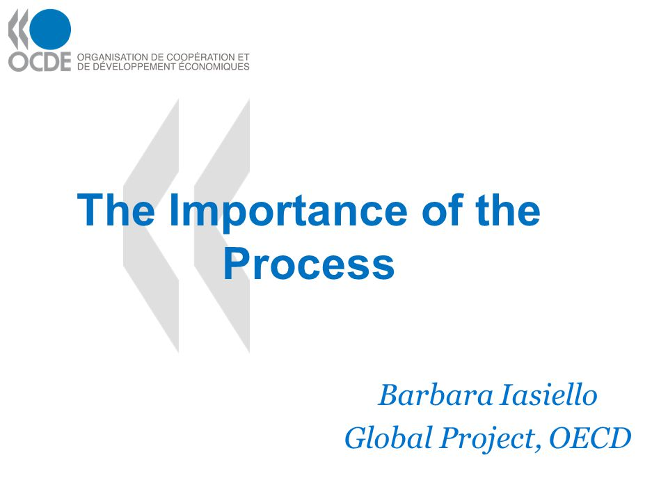 The Importance of the Process Barbara Iasiello Global Project, OECD