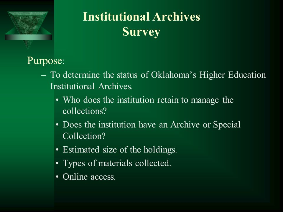 OHEHS Projects  Enhance Exhibit to include the 10 Oklahoma Colleges and Universities celebrating centennials in 2008-2009  Creation of Internet Clearinghouse for College and University Collections Institutional HistoriesLegislation Creating Institutions Campus ChangesAdministration & Faculty ProgramsStudents