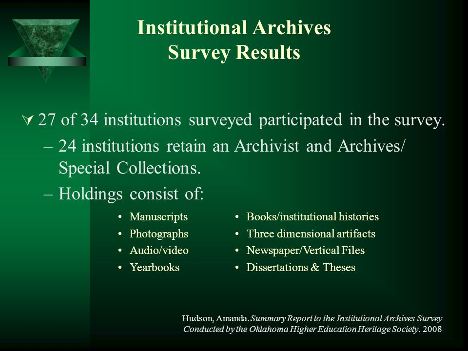 Institutional Archives Survey Results  27 of 34 institutions surveyed participated in the survey. –24 institutions retain an Archivist and Archives/