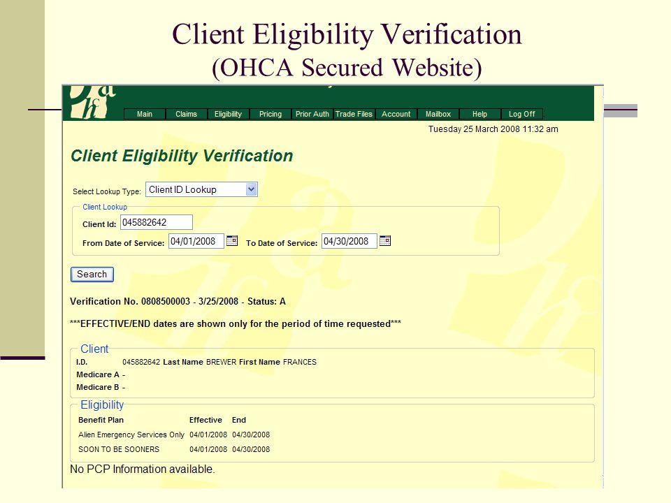 Client Eligibility Verification (OHCA Secured Website)