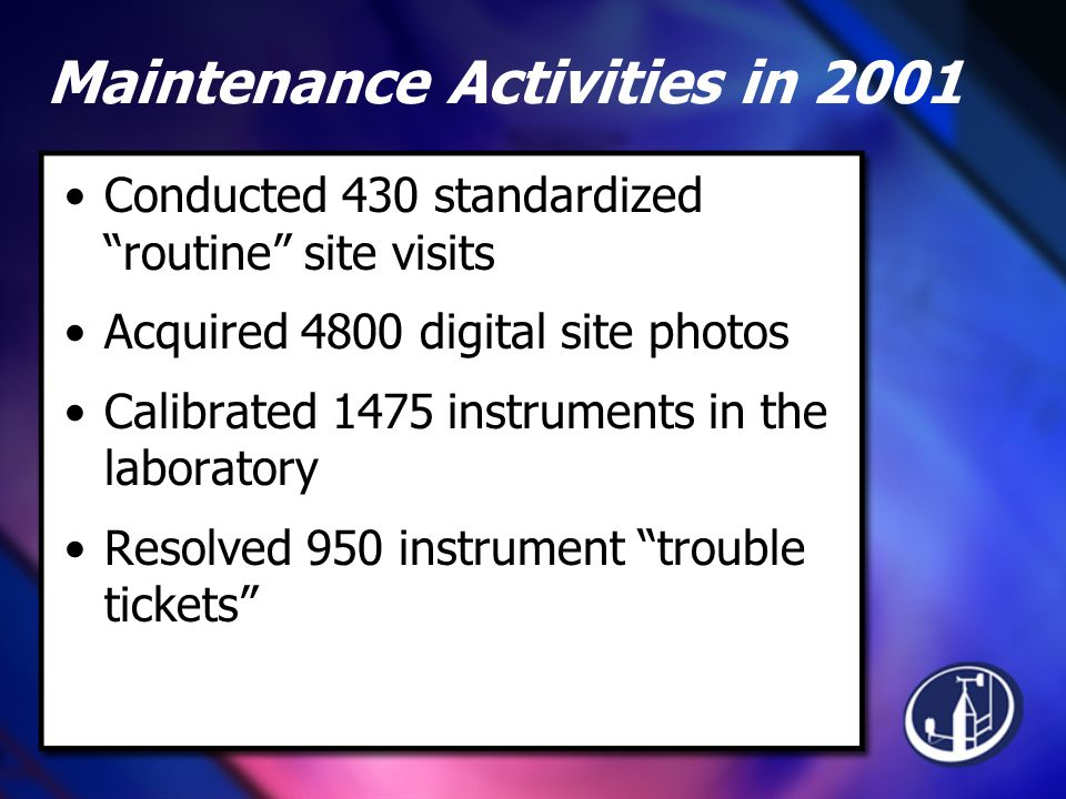 Maintenance Activities in 2001 Conducted 430 standardized routine site visits Acquired 4800 digital site photos Calibrated 1475 instruments in the laboratory Resolved 950 instrument trouble tickets