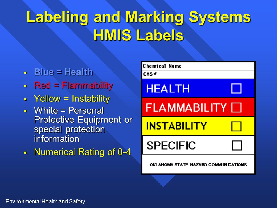 Environmental Health and Safety Labeling and Marking Systems HMIS Labels  Blue = Health  Red = Flammability  Yellow = Instability  White = Persona