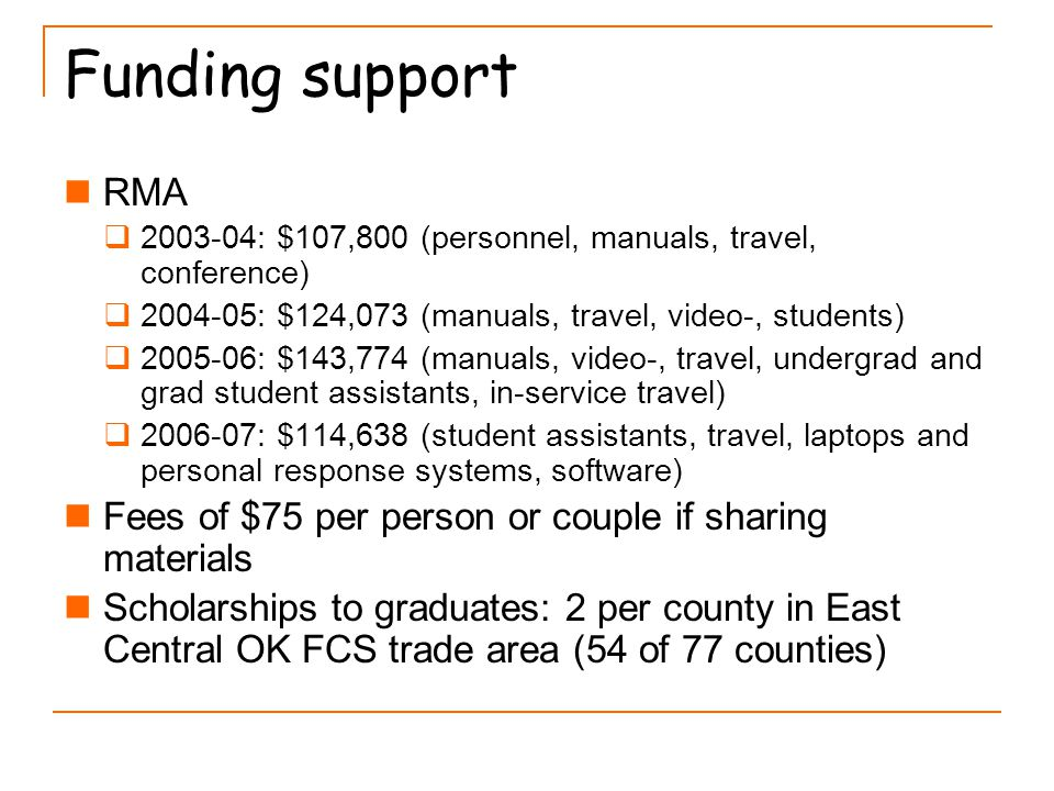 Funding support RMA  2003-04: $107,800 (personnel, manuals, travel, conference)  2004-05: $124,073 (manuals, travel, video-, students)  2005-06: $143,774 (manuals, video-, travel, undergrad and grad student assistants, in-service travel)  2006-07: $114,638 (student assistants, travel, laptops and personal response systems, software) Fees of $75 per person or couple if sharing materials Scholarships to graduates: 2 per county in East Central OK FCS trade area (54 of 77 counties)
