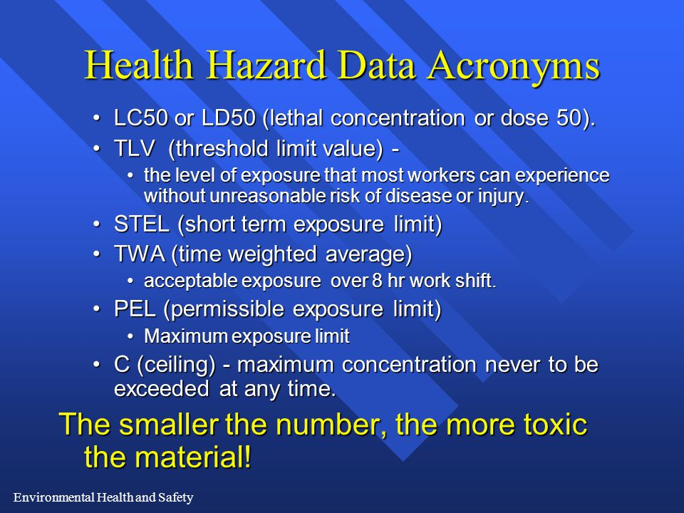 Environmental Health and Safety Health Hazard Data Acronyms LC50 or LD50 (lethal concentration or dose 50).LC50 or LD50 (lethal concentration or dose 50).