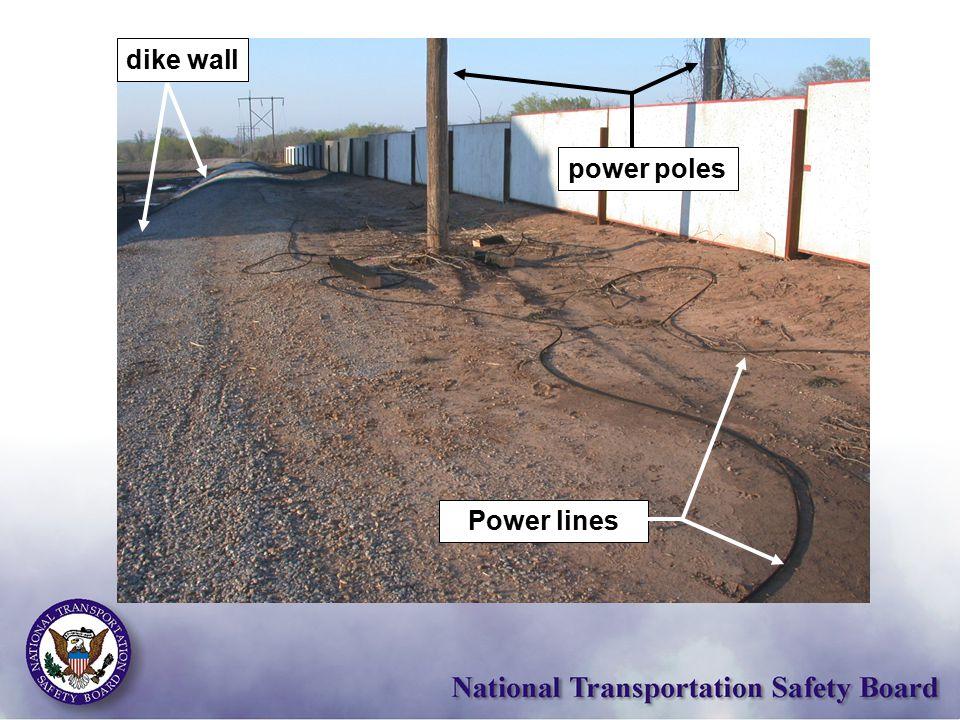 power poles Power lines dike wall