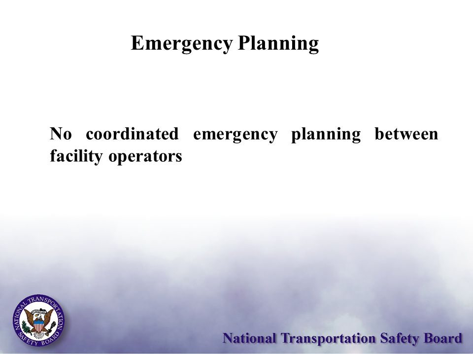 No coordinated emergency planning between facility operators Emergency Planning