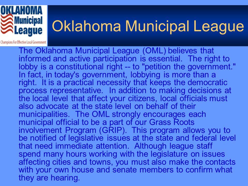 OML Legislative Department  Federal (NLC affiliation)  State  Interagency  Member Involvement:  OML E-newsletters  Website  OC&T  GRIP Alerts