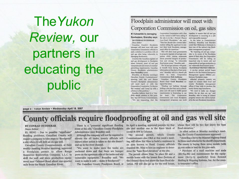 TheYukon Review, our partners in educating the public