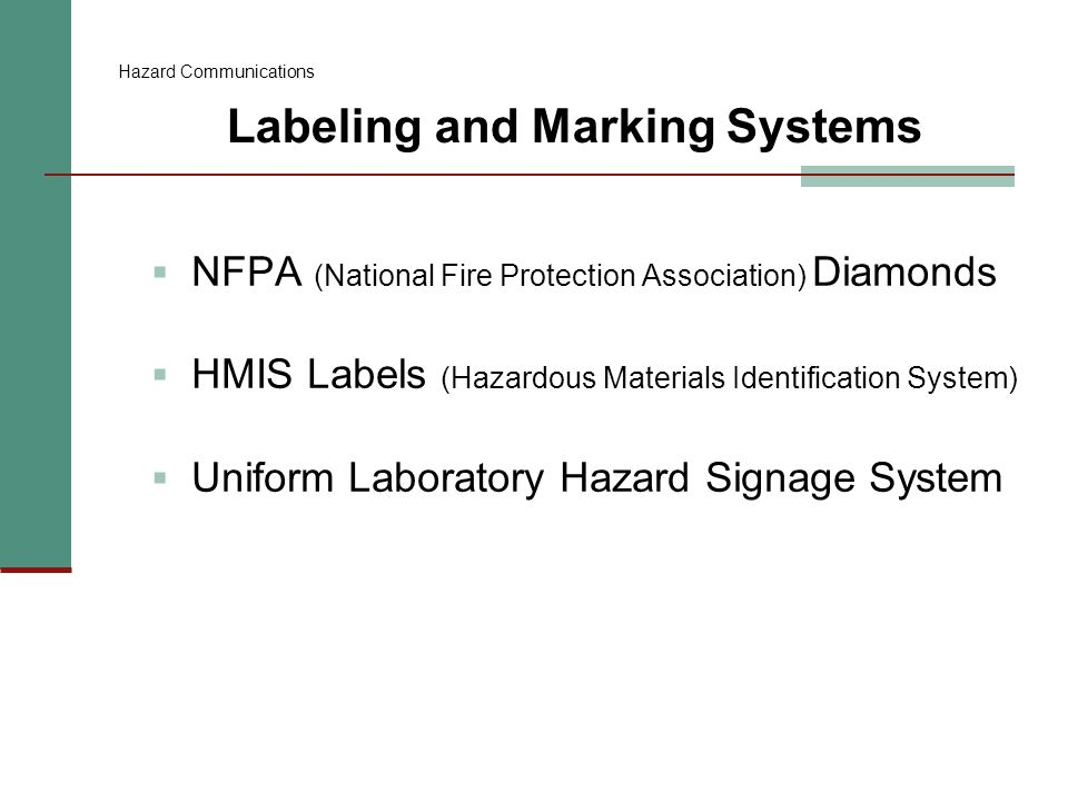 Labeling and Marking Systems: NFPA Diamonds  Color coded, numerical rating system  Should be near main entrances, fire alarm panels, or on outside entrance doors  Provide at-a-glance hazard information