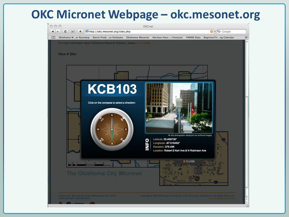 OKC Micronet Webpage – okc.mesonet.org