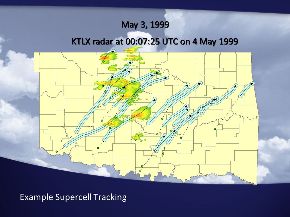 Example Supercell Tracking May 3, 1999 KTLX radar at 00:07:25 UTC on 4 May 1999