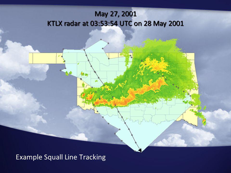 Example Squall Line Tracking May 27, 2001 KTLX radar at 03:53:54 UTC on 28 May 2001