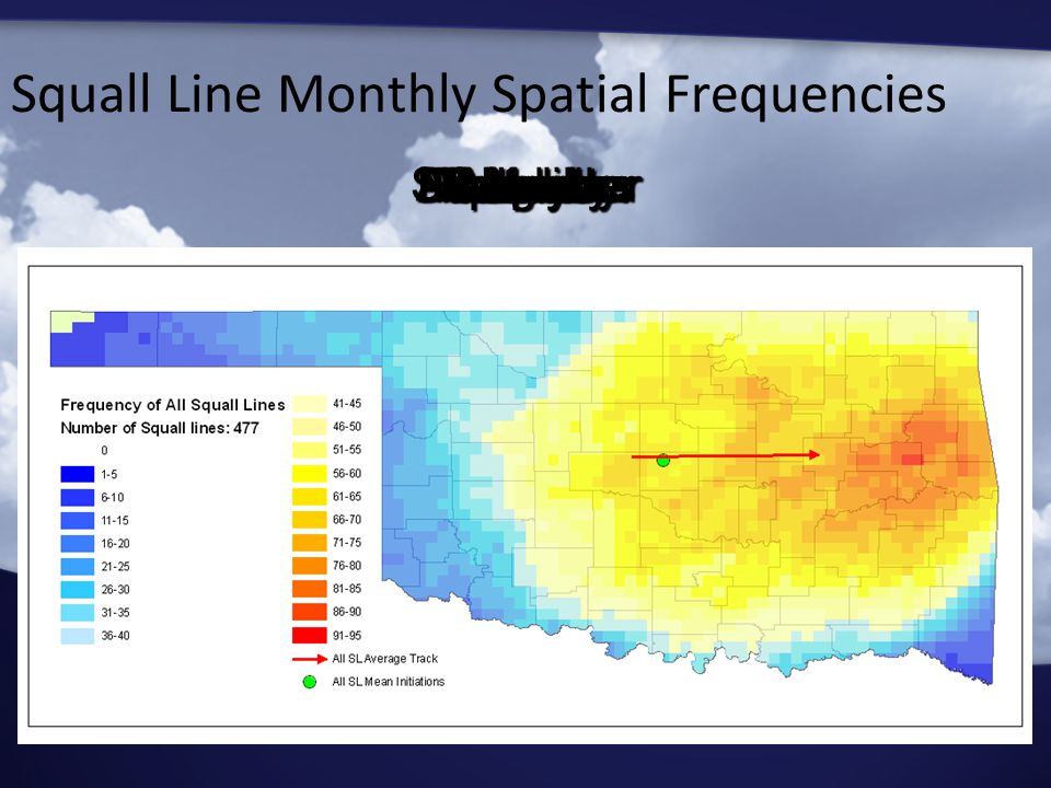Squall Line Monthly Spatial Frequencies JanuaryFebruaryMarchAprilMayJuneJulyAugustSeptemberOctoberNovemberDecember All Months