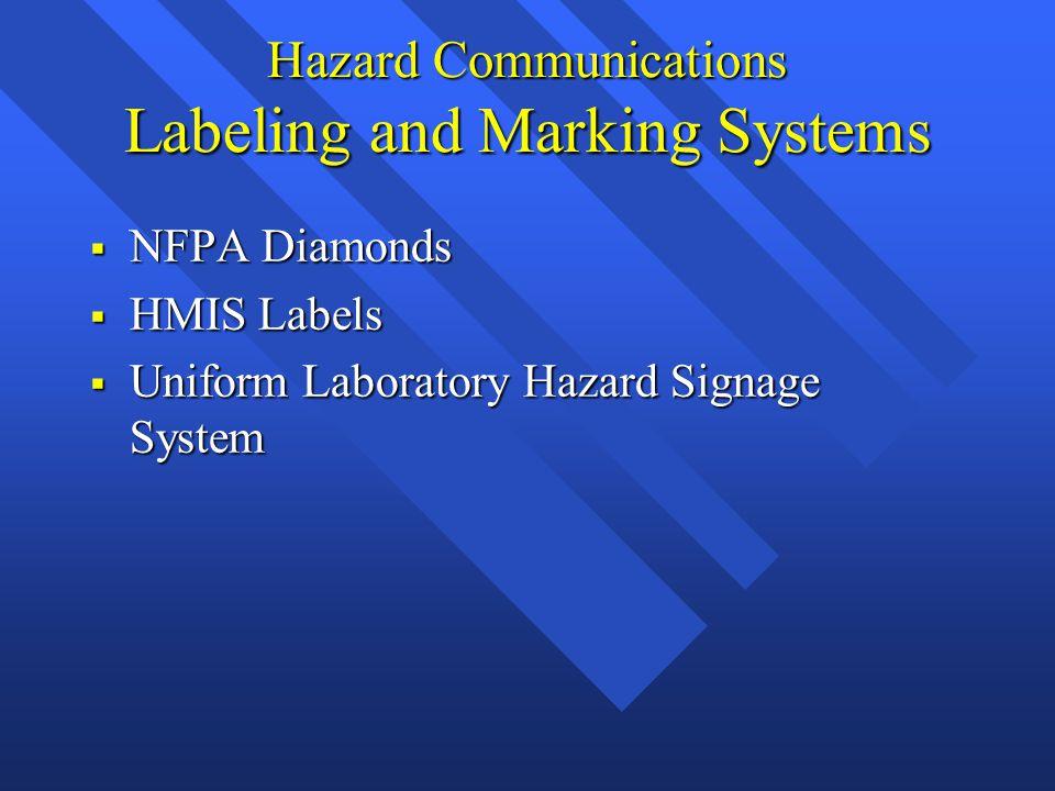 Hazard Communications Labeling and Marking Systems  NFPA Diamonds  HMIS Labels  Uniform Laboratory Hazard Signage System