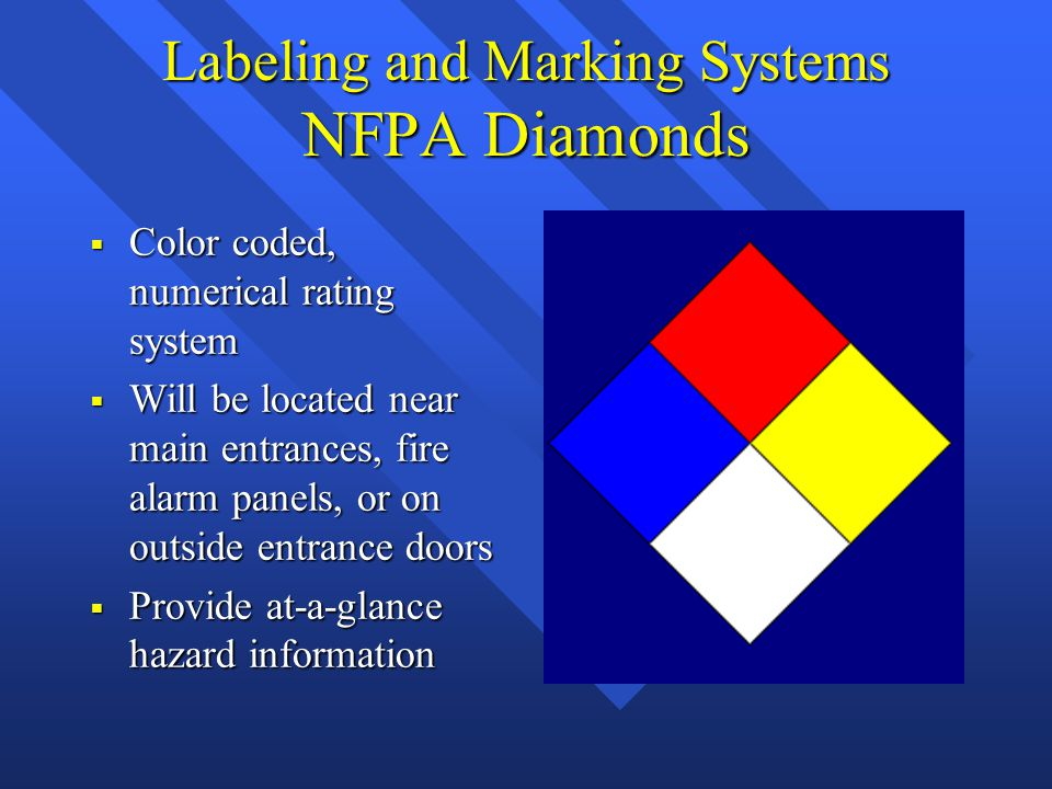 Labeling and Marking Systems NFPA Diamonds  Color coded, numerical rating system  Will be located near main entrances, fire alarm panels, or on outside entrance doors  Provide at-a-glance hazard information