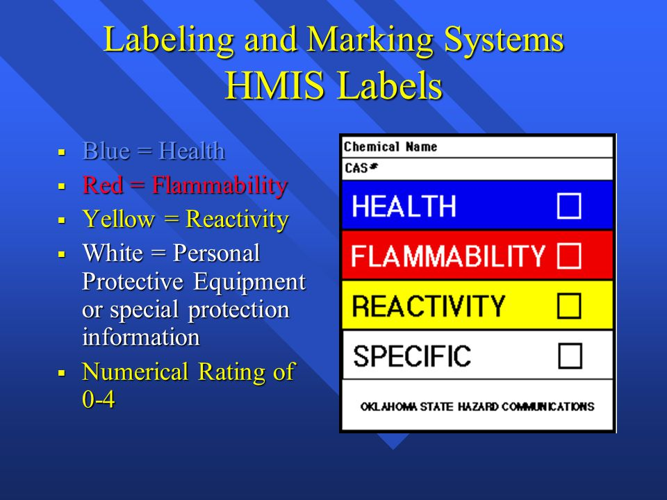 Labeling and Marking Systems HMIS Labels  Blue = Health  Red = Flammability  Yellow = Reactivity  White = Personal Protective Equipment or special protection information  Numerical Rating of 0-4