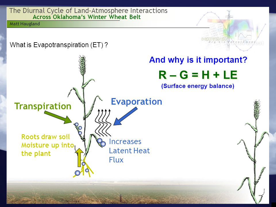 Matt Haugland Across Oklahoma's Winter Wheat Belt The Diurnal Cycle of Land-Atmosphere Interactions What is Evapotranspiration (ET) .